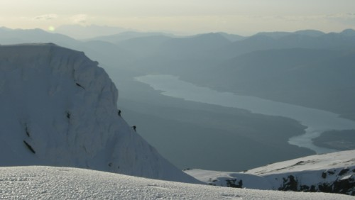 Late afternoon, two climbers savouring the final slopes of Tower Ridge